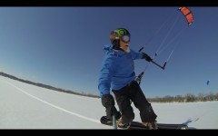 Snowkiting with Snowboard